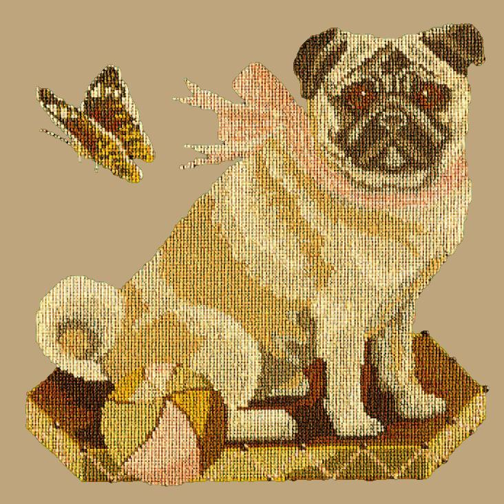 Toby the Pug Needlepoint Kit Elizabeth Bradley Design Sand