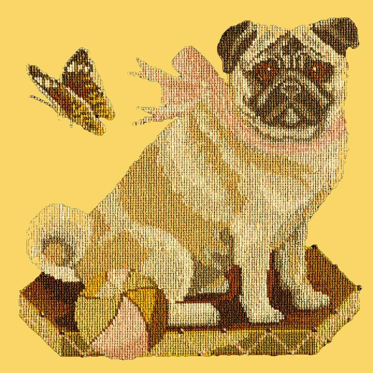 Toby the Pug Needlepoint Kit Elizabeth Bradley Design Sunflower Yellow