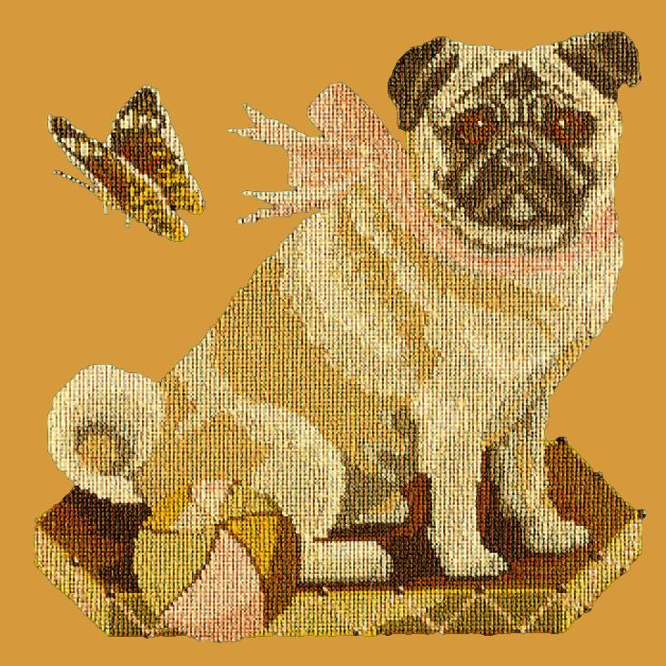 Toby the Pug Needlepoint Kit Elizabeth Bradley Design Yellow