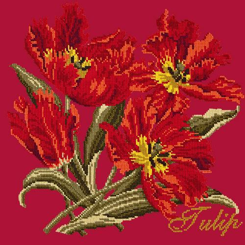 Tulip Needlepoint Kit Elizabeth Bradley Design Bright Red