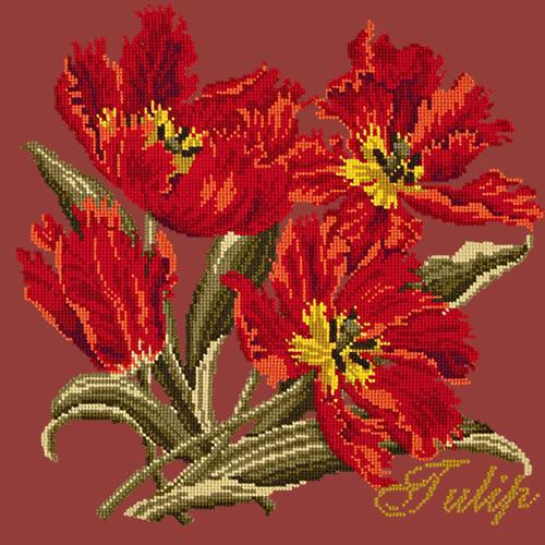 Tulip Needlepoint Kit Elizabeth Bradley Design Dark Red