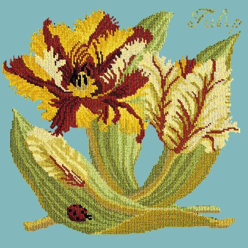 Tulip Needlepoint Kit Elizabeth Bradley Design Duck Egg Blue