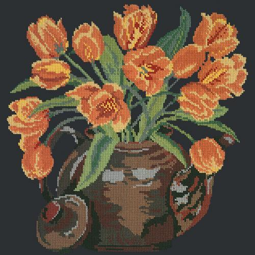 Tulip Teapot Needlepoint Kit Elizabeth Bradley Design Black