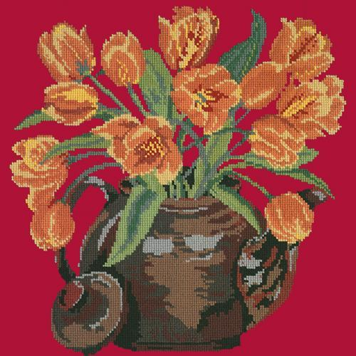 Tulip Teapot Needlepoint Kit Elizabeth Bradley Design Bright Red