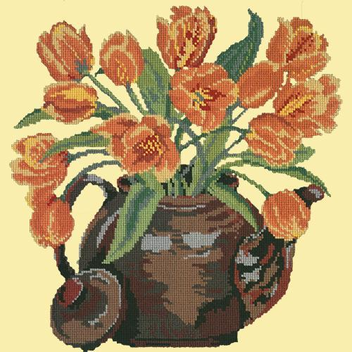 Tulip Teapot Needlepoint Kit Elizabeth Bradley Design Butter Yellow