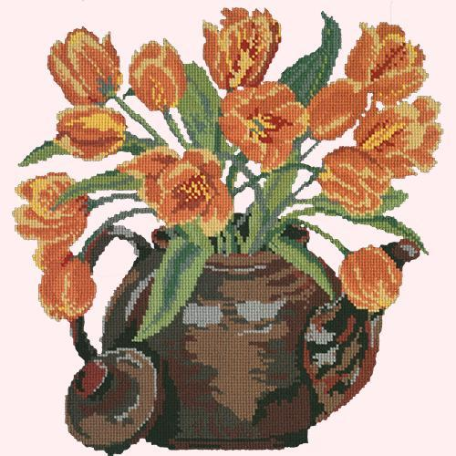 Tulip Teapot Needlepoint Kit Elizabeth Bradley Design Cream