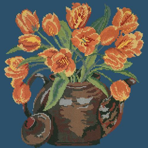 Tulip Teapot Needlepoint Kit Elizabeth Bradley Design Dark Blue