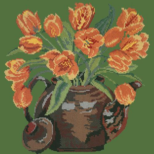 Tulip Teapot Needlepoint Kit Elizabeth Bradley Design Dark Green