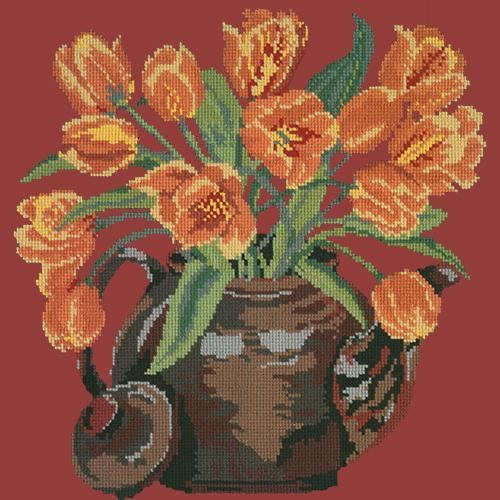 Tulip Teapot Needlepoint Kit Elizabeth Bradley Design Dark Red