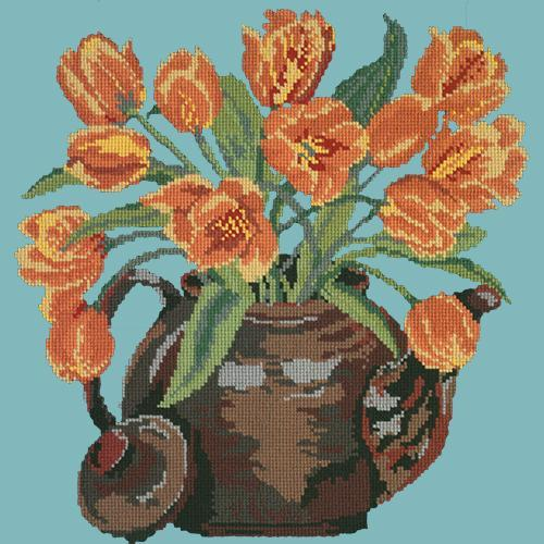 Tulip Teapot Needlepoint Kit Elizabeth Bradley Design Duck Egg Blue
