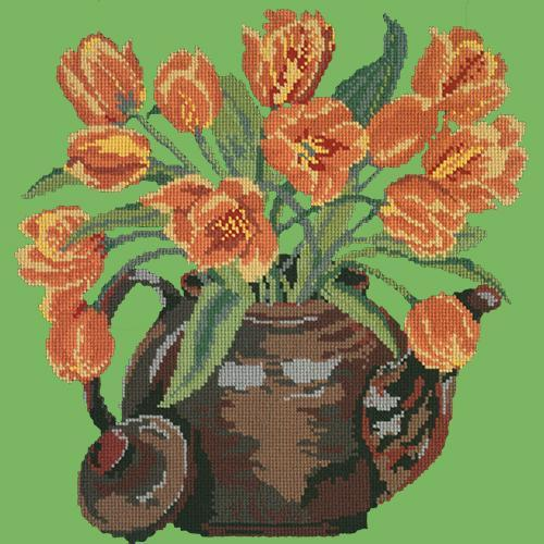 Tulip Teapot Needlepoint Kit Elizabeth Bradley Design Grass Green