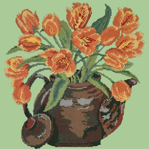 Tulip Teapot Needlepoint Kit Elizabeth Bradley Design Pale Green
