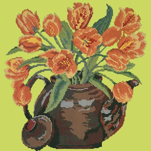 Tulip Teapot Needlepoint Kit Elizabeth Bradley Design Pale Lime