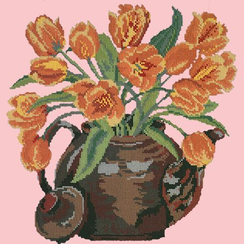 Tulip Teapot Needlepoint Kit Elizabeth Bradley Design Pale Rose