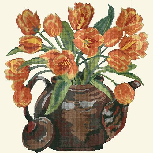 Tulip Teapot Needlepoint Kit Elizabeth Bradley Design Winter White