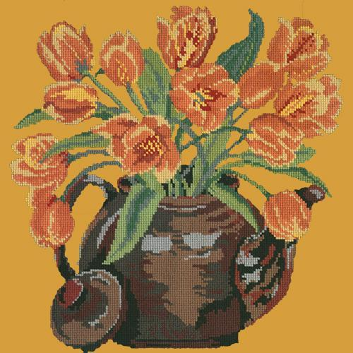 Tulip Teapot Needlepoint Kit Elizabeth Bradley Design Yellow