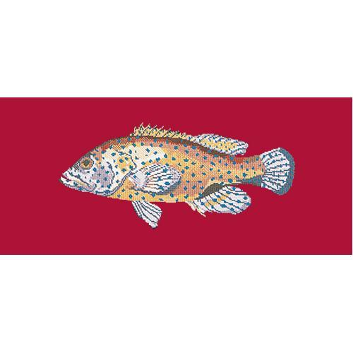 Vermilion Seabass Needlepoint Kit Elizabeth Bradley Design Bright Red