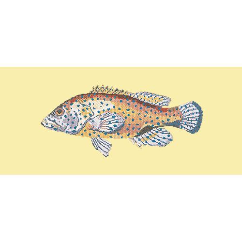 Vermilion Seabass Needlepoint Kit Elizabeth Bradley Design Butter Yellow