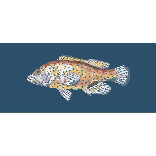 Vermilion Seabass Needlepoint Kit Elizabeth Bradley Design Dark Blue
