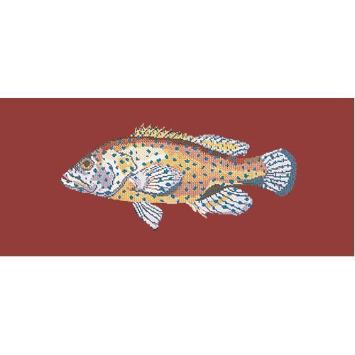 Vermilion Seabass Needlepoint Kit Elizabeth Bradley Design Dark Red