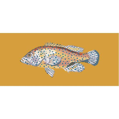 Vermilion Seabass Needlepoint Kit Elizabeth Bradley Design Yellow