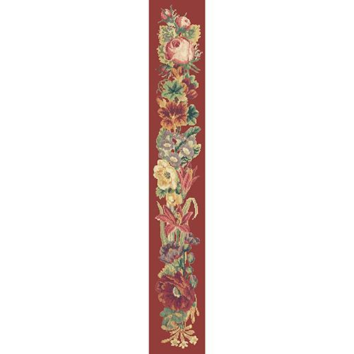 Victorian Flower Bell Pull Needlepoint Kit Elizabeth Bradley Design Dark Red