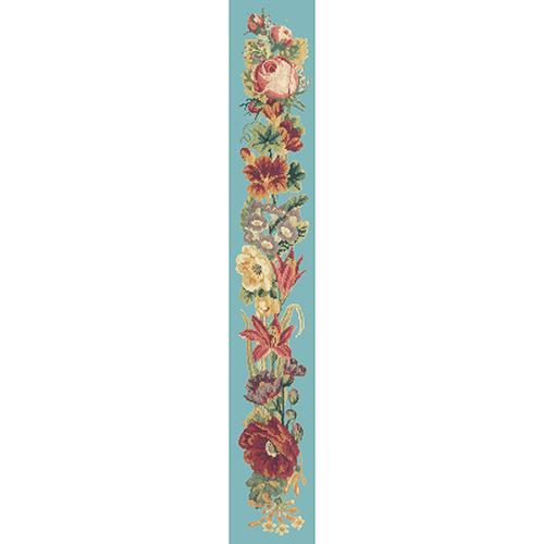 Victorian Flower Bell Pull Needlepoint Kit Elizabeth Bradley Design Duck Egg Blue