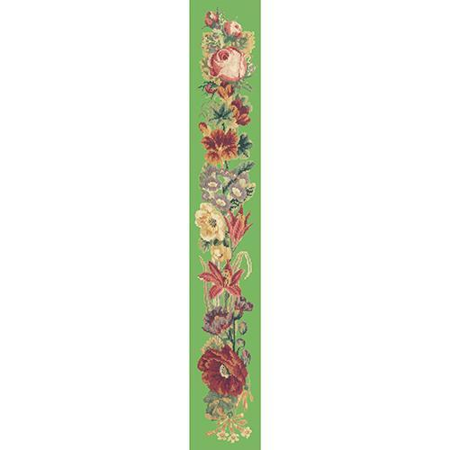 Victorian Flower Bell Pull Needlepoint Kit Elizabeth Bradley Design Grass Green