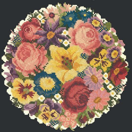 Victorian Posy Needlepoint Kit Elizabeth Bradley Design Black