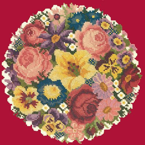 Victorian Posy Needlepoint Kit Elizabeth Bradley Design Bright Red