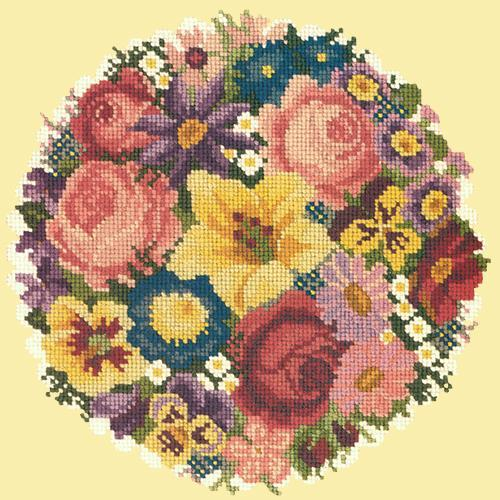 Victorian Posy Needlepoint Kit Elizabeth Bradley Design Butter Yellow