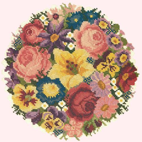 Victorian Posy Needlepoint Kit Elizabeth Bradley Design Cream