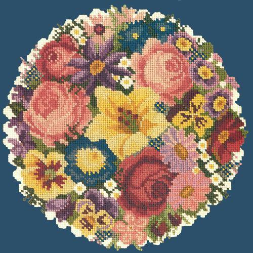 Victorian Posy Needlepoint Kit Elizabeth Bradley Design Dark Blue