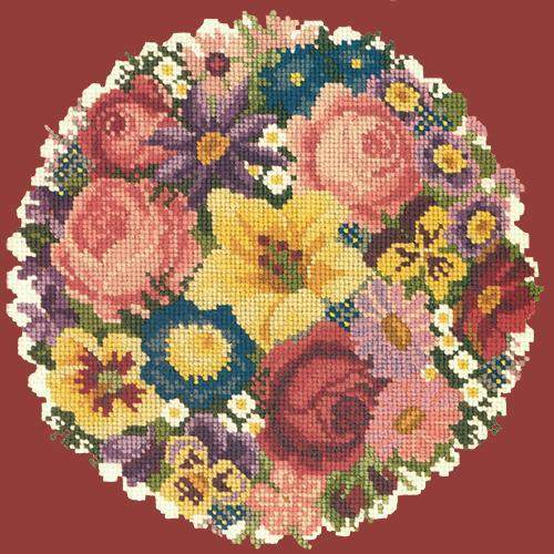 Victorian Posy Needlepoint Kit Elizabeth Bradley Design Dark Red