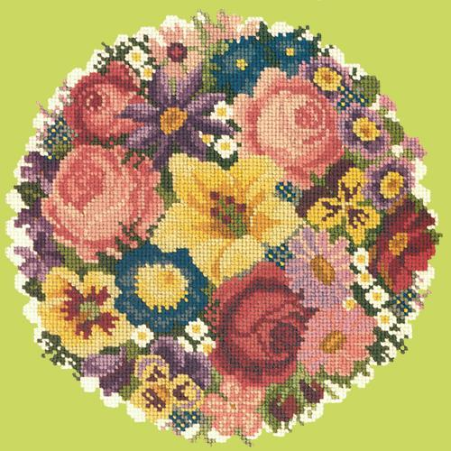 Victorian Posy Needlepoint Kit Elizabeth Bradley Design Pale Lime