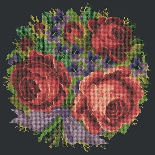 Violets and Roses Needlepoint Kit Elizabeth Bradley Design Black