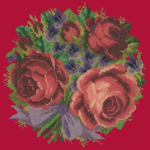 Violets and Roses Needlepoint Kit Elizabeth Bradley Design Bright Red