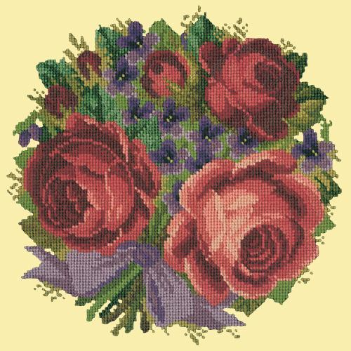 Violets and Roses Needlepoint Kit Elizabeth Bradley Design Butter Yellow