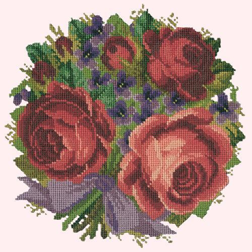 Violets and Roses Needlepoint Kit Elizabeth Bradley Design Cream