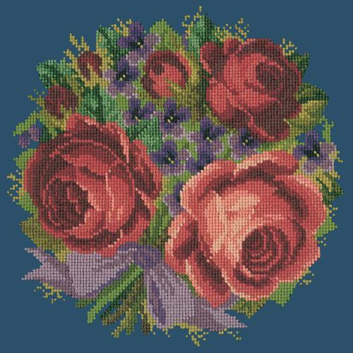 Violets and Roses Needlepoint Kit Elizabeth Bradley Design Dark Blue