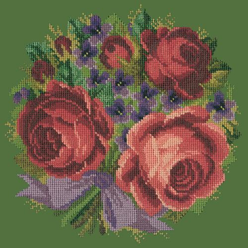 Violets and Roses Needlepoint Kit Elizabeth Bradley Design Dark Green