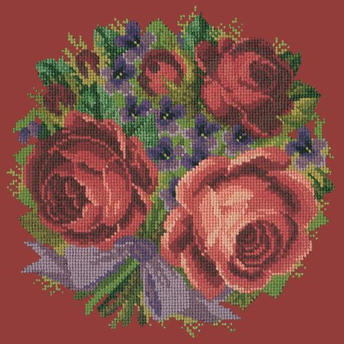 Violets and Roses Needlepoint Kit Elizabeth Bradley Design Dark Red