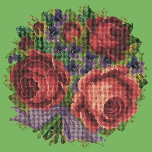 Violets and Roses Needlepoint Kit Elizabeth Bradley Design Grass Green