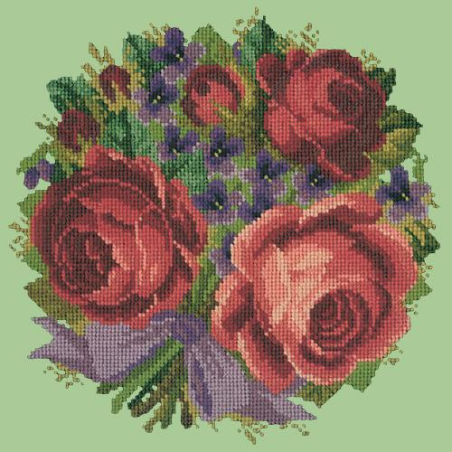 Violets and Roses Needlepoint Kit Elizabeth Bradley Design Pale Green