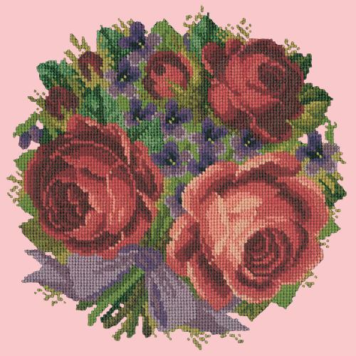 Violets and Roses Needlepoint Kit Elizabeth Bradley Design Pale Rose