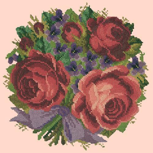 Violets and Roses Needlepoint Kit Elizabeth Bradley Design Salmon Pink