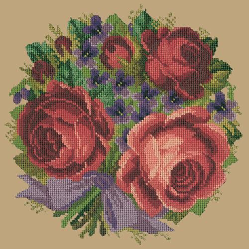 Violets and Roses Needlepoint Kit Elizabeth Bradley Design Sand