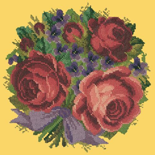 Violets and Roses Needlepoint Kit Elizabeth Bradley Design Sunflower Yellow
