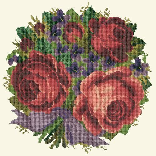 Violets and Roses Needlepoint Kit Elizabeth Bradley Design Winter White