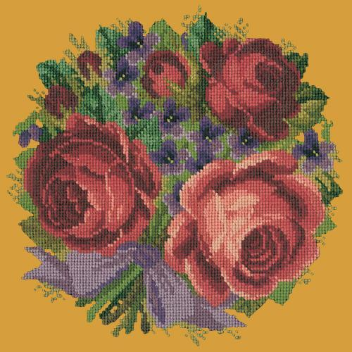 Violets and Roses Needlepoint Kit Elizabeth Bradley Design Yellow